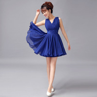 2013 formal dress short skirt bride bridesmaid dress evening dress sexy double-shoulder V-neck short skirt