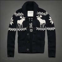 Male sweater navy blue sweater cardigan turn-down collar sweater christmas deer jacquard pattern sweater