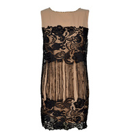 Yarn black lace tassel neckline metal rivet sleeveless one-piece dress