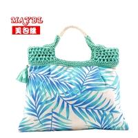 Bag 2013 leopard print flower straw bag women's canvas handbag portable 634