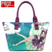 Bag autumn fashion queen hd women's print canvas handbag shoulder bag large size handbag