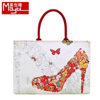 Bag digital print high-heeled shoes canvas bag one shoulder women's handbag canvas handbag my662