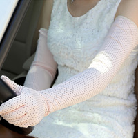 2014 women's long design sunscreen breathable anti-uv polka dot gloves sunscreen gloves