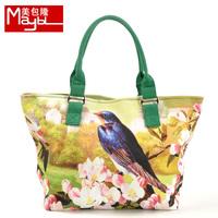 Bag transhipped 13 bird hd print canvas shoulder bag waterproof canvas female bag