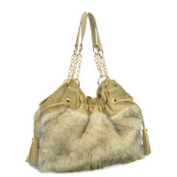 Bag elegant winter portable bag faux fur shoulder bag pleated women's handbag 6587