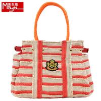 Bag pirate all-match stripe one shoulder bag handbag straw bag vintage female m3151