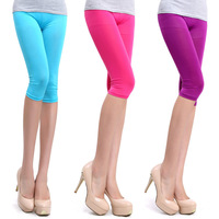 Free Shipping Multicolour neon leggings capris candy color elastic size pants Cropped Trousers leggings W3001