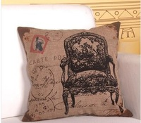 Free shipping 6 pcs/lot 45*45cm cushion cover cotton and linen single side print