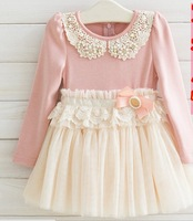 Wholesale Children Girls Autumn Long Sleeve Dress Baby Girls Cute Floral Dress With Lace