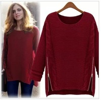 autumn winter NEW European style women side zipper  loose fashion sweater ladies sweater basic