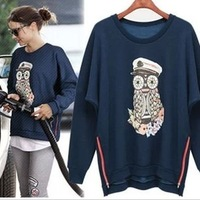 NEW Spring& Autumn European style Fashion women  casual loose plus t-shirt ladies  owl irregular tops sweatshirt