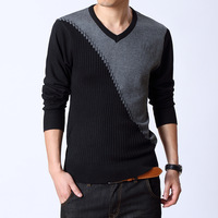 The new 2013 British style splicing sweaters bump color v-neck sweater