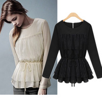 NEW Spring &Autumn European style fashion women's  lace  shirt chiffon shirt ladies tops lace basic shirt