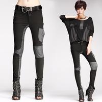 8239 fashion patchwork elastic pencil pants trousers strap