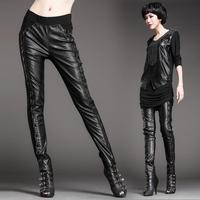 8268 legging rivet decoration PU skinny pants