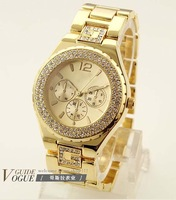 2013 New Free Shipping Luxurious Japan Movement Brand Quartz Watch Women Fashion Thinestone Dress Wrist Wwatch 3 colors