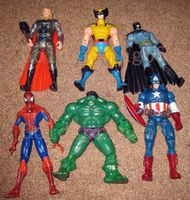 hi-Q Lot 6 Marvel DC The Avengers Figure Hulk Captain Wolverine Batman Spiderman Thor for childen classic toy gift