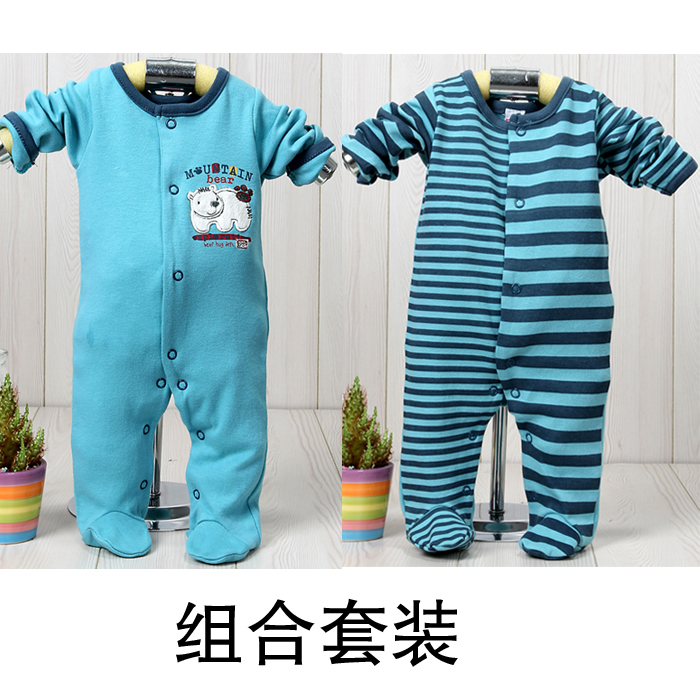 Footed Pajamas Newborn bodysuit 0 - 3 100% baby cotton underwear boy sleepwear romper autumn and winter romper lounge(China (Mainland))