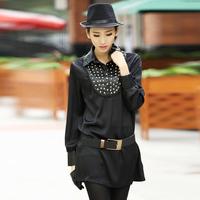 9309 normic fashion handmade beading silk satin patchwork loose one-piece dress
