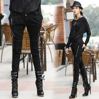 2014 fashion water wash zipper decoration 8279 skinny pants