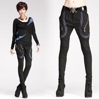 Fashion patchwork 8251 zipper trousers strap