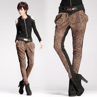 8232 leopard print patchwork black trousers