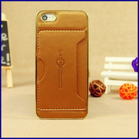 wholesale 10pcs CREDIT ID card slot holder Electroplating border hard case for apple iphone 5 5S back cover