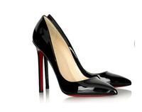 Double 12 fashion princess sexy pointed toe high-heeled  ultra thin heels black  single women's shoes