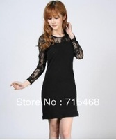 Women's dresses, spring and autumn new Slim tight package hip nightclub sexy lace dresses, long and short-sleeved M-4XL