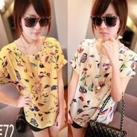 2013 spring and summer loose plus size chiffon shirt short-sleeve shirt pullover shirt print t-shirt