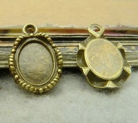 Oval beaded Bezel Cup Cabochon Mountings pendant tray- 8x10mm, antique bronze,  wholesale, Free shipping, supplies, diy