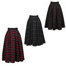 Vintage tartan long skirt rockabilly pin up ginham full skirt A53