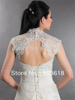 Charming 2014 Bridal Boleros Wrap Sleeveless Keyhole Back Lace Applique Wedding Jacket  Custom Made
