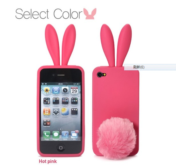 For iphone 4 4 4s 3 3gs rabbit ears silica gel sets protective case mobile phone case soft cover(China (Mainland))
