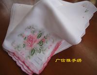 100% women's cotton handkerchief handmade embroidery