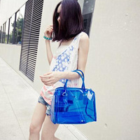 Free shipping Motorcycle 2013 transparent bag women's bag color block pillow women's handbag