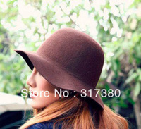Wholesale NEW Novelty Women Wool Felt Floppy Fedoras Hats Plain Lady Winter Trilby Hats Womens Cap Ladies Fedora Headwear Bowler