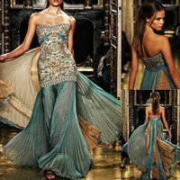 New arrivals vestidos de fiesta 2014 colorful long formal dresses zuhair murad evening dresses lace applique blue prom dress 738