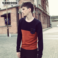 Vancoog male sweater color block slim o-neck sweater male autumn and winter men's clothing casual sweater