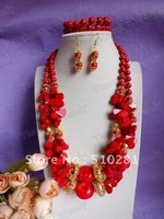 730 Hotsale!!!Double Strand Flower necklace with bracelet earrings Coral jewelry set