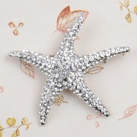 Beyond Compare Rhinestone Starfish Brooch Cute Silver Plated Alloy Breastpin Wedding Brooch Pins Best Gift