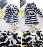 rabbbit chinchilla fur coat Toifurs autumn and winter rex rabbit hair long rex rabbit design plush fur coat