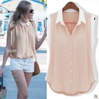 Free shipping women's sleeveless color block decoration female chiffon shirt solid color female slim all-match shirt 8543# S-XL