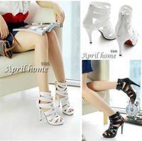 2014 fashionable black and white skeleton shoes  woman high-heeled Roman sandals plus size 34-43 sandalias de salto alto