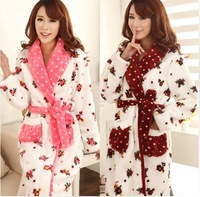 Autumn and winter elegant women's lengthen thickening coral fleece robe bathrobes female plus size coral fleece sleepwear lounge
