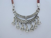 Cowhide necklace tibetan jewelry national necklace tibetan silver lotus short design necklace handmade