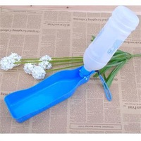 Blue  Portable Plastic Water Feeding Bowl Dog Cat Travel Pet Water Bottle Bowl