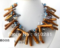 23541 2Strands 18'' Freshwater Pearl Clear Crystal Brown Dendritic Coral Necklace free shipping(M-817)