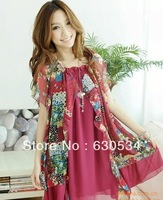 Free Shipping Loose Short Sleeve Dress With Flower Print For Pregnant Gravida As Maternity Clothes.One Size