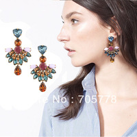 New Auth J-C/-J Crystal Jeweled Fan Drop earring 2013 Fashion Jewelry for Women Luxury  earrings